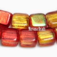6mm Two Hole Tile Beads Crimson and Pale Yellow with AB Finish