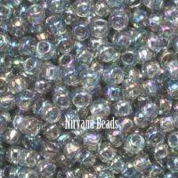 8/0 TOHO Round Black Diamond Trans-Rainbow