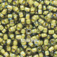 8/0 TOHO Round Black Diamond/Opaque Yellow Line