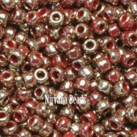 11/0 TOHO Round Red Gilded Marble