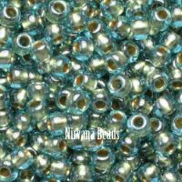 11/0 TOHO Round Aqua/Gold Lined Inside-Color