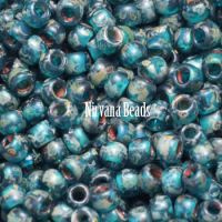 8/0 TOHO Round Teal Transparent Picasso Frosted