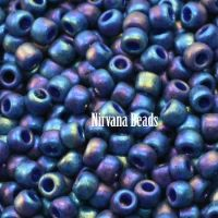 11/0 TOHO Round Navy Blue Rainbow Semi Glazed