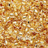 8/0 TOHO Round Crystal 24K Gold Lined