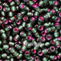 11/0 TOHO Round Olivine- Pink Lined Frosted