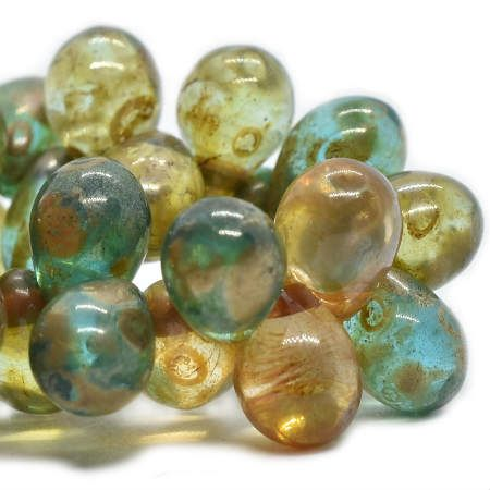 4x6mm Czech Glass Drops Sea Green with Picasso Drops