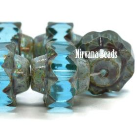 13x15mm Crown Sky Blue with a Picasso Finish