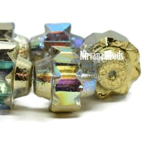 13x15mm Crown Transparent Glass with a Gold Luster