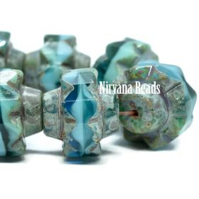 13x15mm Crown Sea Green, Sky Blue and Teal with a Picasso Finish
