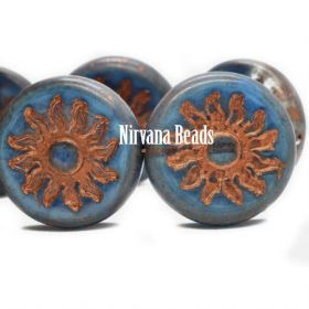 22mm Sun Coin Transparent Glass and Cornflower with Picasso Finish and Copper Wash
