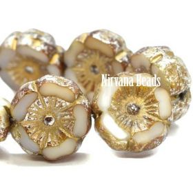 12mm Hibiscus Flower Ivory with Mercury Finish and Gold Wash