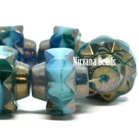 13x15mm Crown Sea Green, Sky Blue and Teal with a Bronze Finish