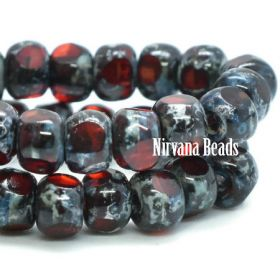 4x3mm Trica Ruby Red and Lady Bug Red with Picasso Finish