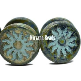 22mm Sun Coin Sapphire with Heavy Picasso and Tea Green Wash