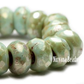 6x9mm Large Hole Roller Bead Celadon with Picasso Finish