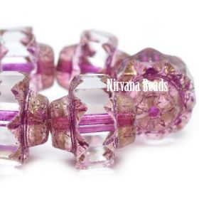 13x15mm Crown Transparent Glass with Metallic Pink Wash and Gold Luster with Etched Finish