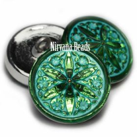 18mm Star Flower Button Kelley Green Wtih Turquoise Wash