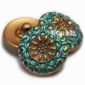 18mm Crown Button Gold and Tiffany Green