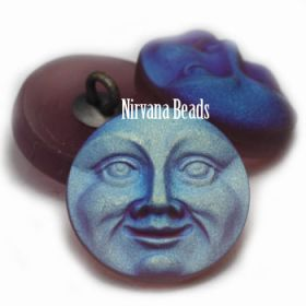 18mm Moon Face Button Grape with An AB and Matte Finish
