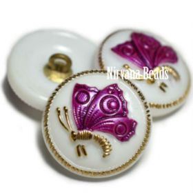 18mm Butterfly Button White and Magenta