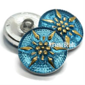 18mm Star Button Medium Sky Blue with Gold Accents