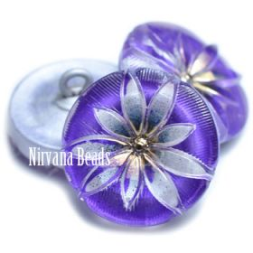 18mm Lotus Button Electric Purple and Transparent Glass with Gold Accents