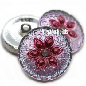18mm Arabian Star Button Pink and Magenta