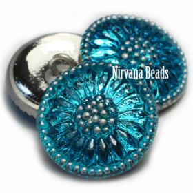 18mm Daisy Button Pacific Blue with Silver Accents