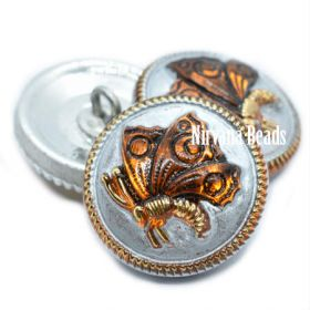 18mm Butterfly Button Amber and Silver