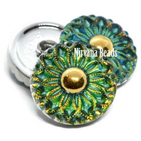 18mm Collarette Flower Button Vitrail Medium with Gold Accents