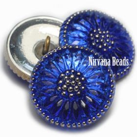 18mm Daisy Button Sapphire with Silver Accents