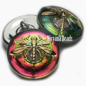 18mm Dragonfly Button Vitrail with a Gold Dargonfly