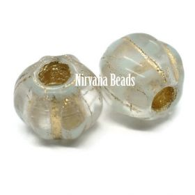 6mm Large Hole Melon Transparent Glass and Mint with Gold Wash