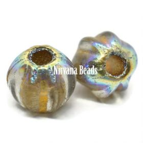 6mm Large Hole Melon Gold with AB Finish and Gold Wash