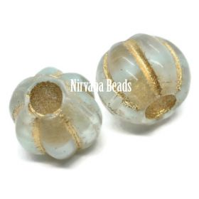 8mm Large Hole Melon Transparent Glass and Mint with Gold Wash