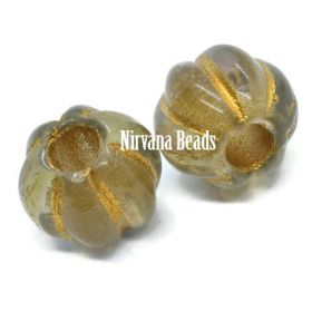 8mm Large Hole Melon Gold with AB Finish and Gold Wash