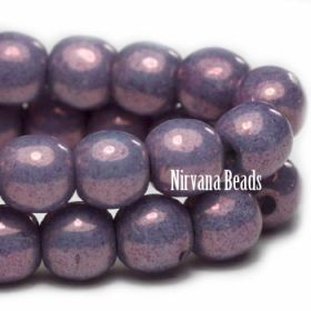 4mm Round Druk Purple Pansy with Metallic Finish