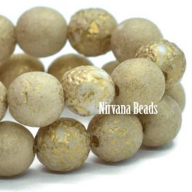 6mm Round Druk Beige with Gold Wash and Etched Finish