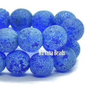 6mm Round Druk Cobalt with Turquoise Wash and Etched Finish