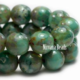 08mm Round Druk Beads GN. Green picasso