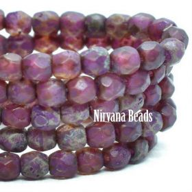 3mm Faceted Round Firepolished Bead Boysenberry with An Etched and Picasso Finish