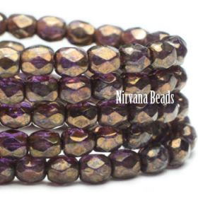 4mm Faceted Round Firepolished Bead Purple Pansy with Bronze Picasso Finish