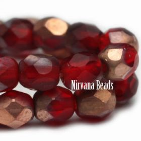 4mm Faceted Round Firepolished Bead Ruby Red with Matte Copper Finish
