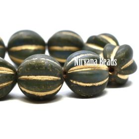 10mm Melon Dark Army Green with Etched and Picasso Finish and Gold Wash