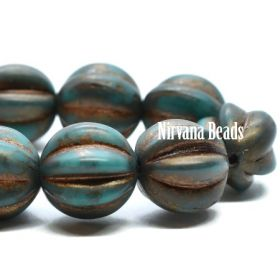 10mm Melon Blue Green with Gold Wash and Etched Finish