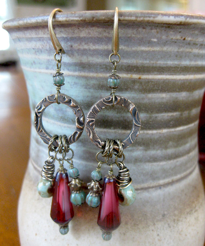Rosewood charm earrings: faceted dangle drops