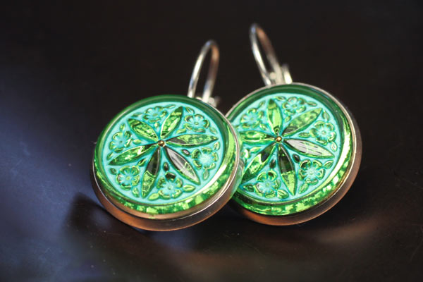 Green turquoise czech glass button earring