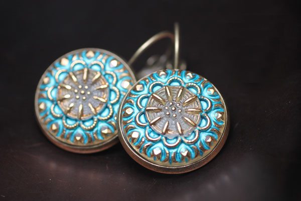 Czech Glass button earring