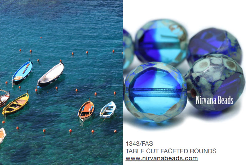 Mediterranean ocean and faceted round beads