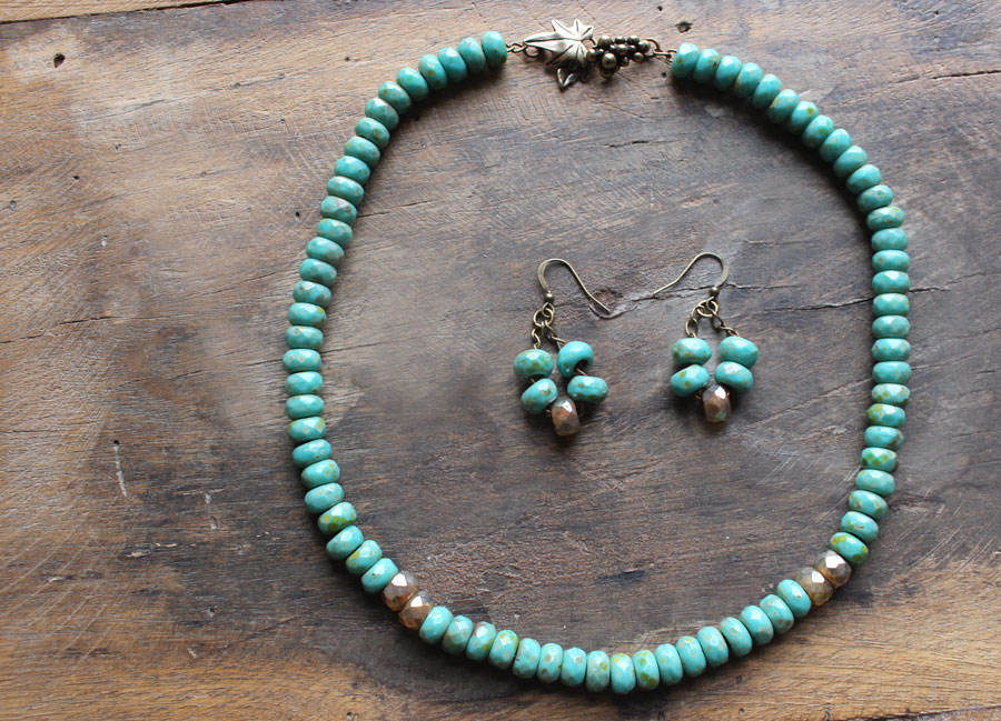 Turquoise large hole beads necklace